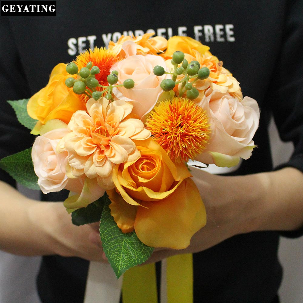 2018 Real Pictures Artificial Yellow Rose Flower Wedding Bouquet
