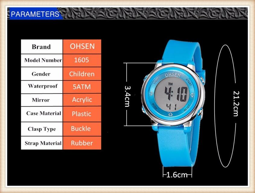 2018 OHSEN Brand Digital LCD Kids Girls Fashion Wristwatch Cute Girl Rubber Strap 50M Waterproof Child Watches Alarm Hand Clocks (17)