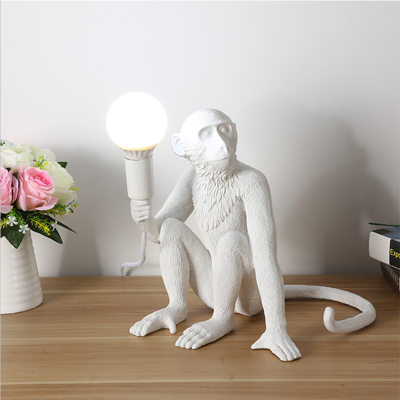 Lamps & Shades Lights & Lighting Art Deco Childrens Room Decorative Animal White Resin Led Desk Lights Living Room Creative Monkey Desk Lamps Hemp Rope Lighting