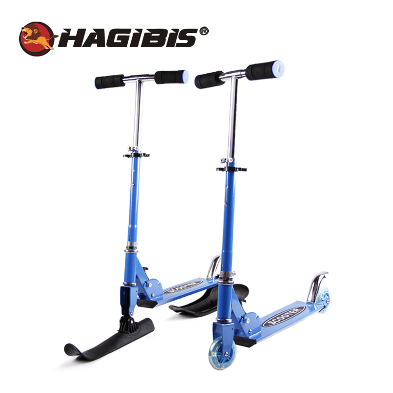 HAGIBIS 2 In 1 Youth Street & Snow Scooter, Folding Kids Skate Board, Snow Scooter Child Sled Luge