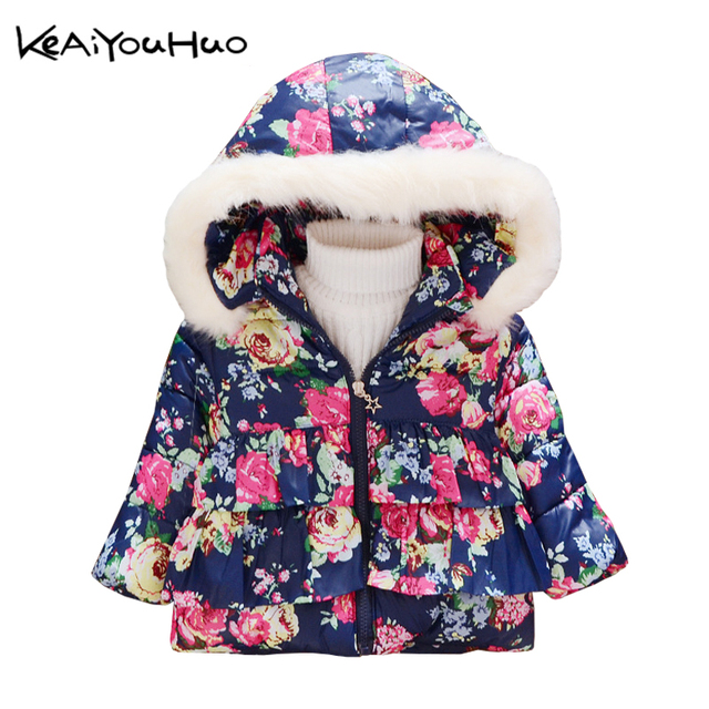 keaiyouhuo winter christmas jacket lovely flower prints coat children clothes jacket kids cotton warm outerwear girls - Christmas Jackets