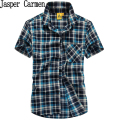 Free shipping 2017 Plus Size Shirt New fashion summer dress Casual Men Shirt Cotton Shirt  Plaid Shirt short sleeve   80ll