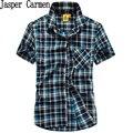 O envio gratuito de 2017 Plus Size vestido de Camisa de moda de Nova verão Casual Camisa Dos Homens Camisa de Algodão Camisa Xadrez de manga curta 80ll