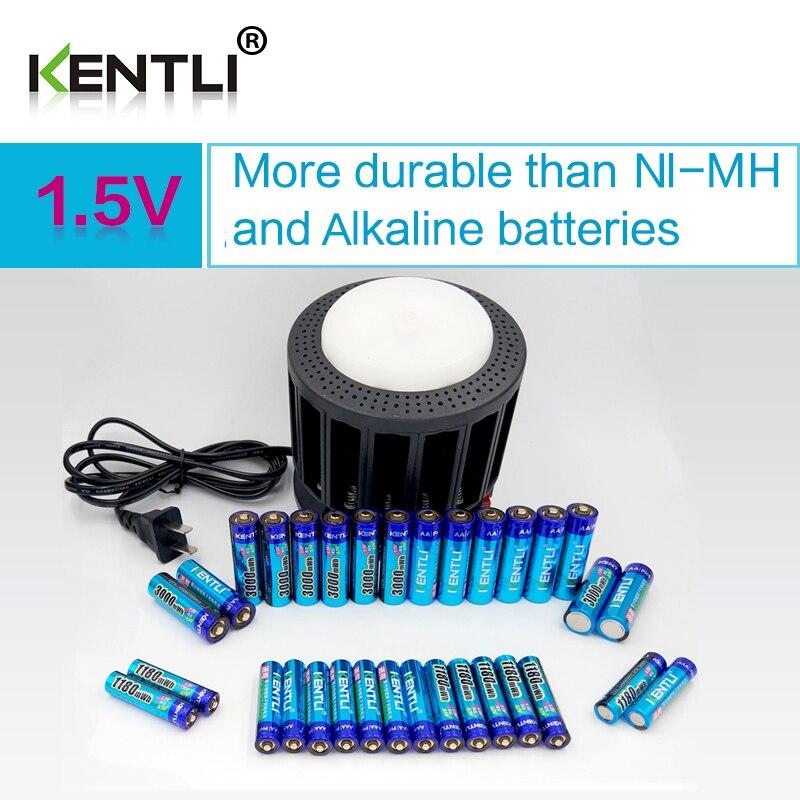 KENTLI Ультра низкий саморазряд 16-слот полимерная литий-ионный Литиевые батареи, зарядное устройство + 16 шт. PLIB li- ionAA/AAA батареи