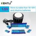 KENTLI Ultra baixa auto-descarga 16-slot carregador + 16 pcs baterias de lítio polímero de iões de lítio PLIB li-ionAA/AAA bateria