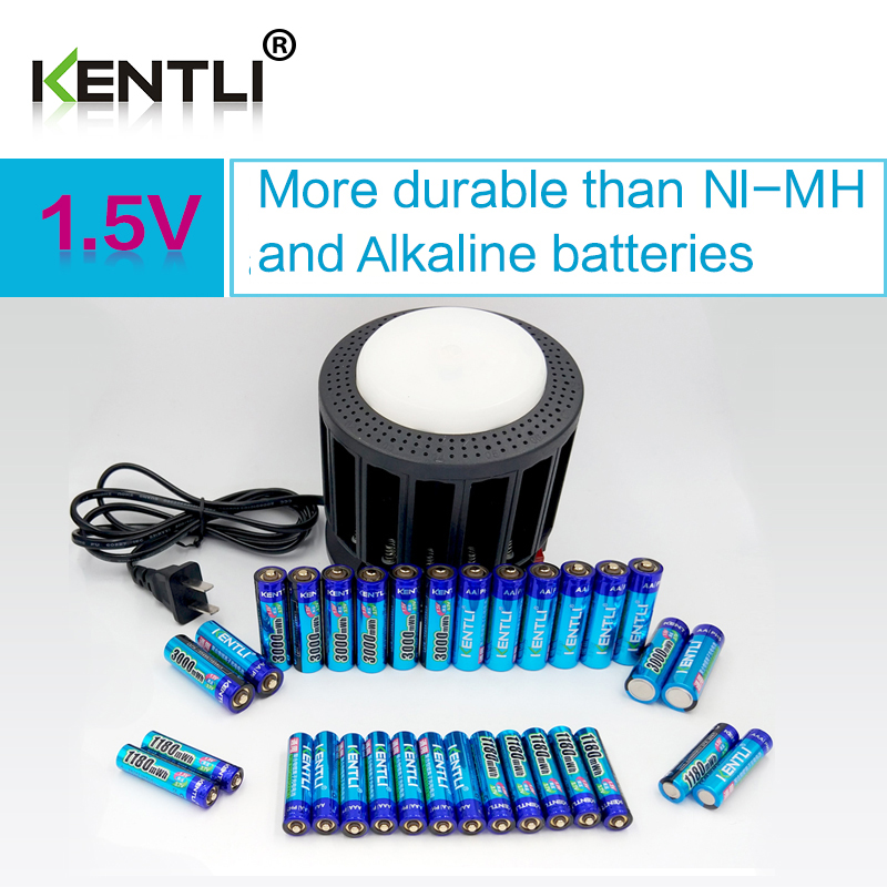 KENTLI Ultra faible auto-décharge 16-slot polymère li-ion batteries au lithium chargeur + 16 pcs PLIB li-ionAA/AAA batterie