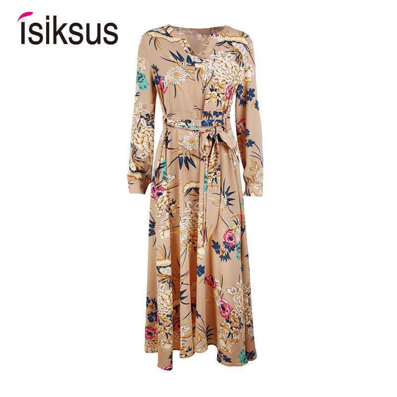 e5631697f229d Isiksus Floral Summer Maxi Dress Long Sleeve Boho Vintage Dress White Green  Beach Tropical Autumn 2018 Dresses for Women DR096