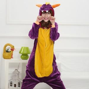 Image 2 - HKSNG Unisex Erwachsene Winter Spyro Shiryu Lila Drache Grün Grau Grau Rosa Dinosaurier Pyjamas Onesies Cosplay Kostüme Kigu
