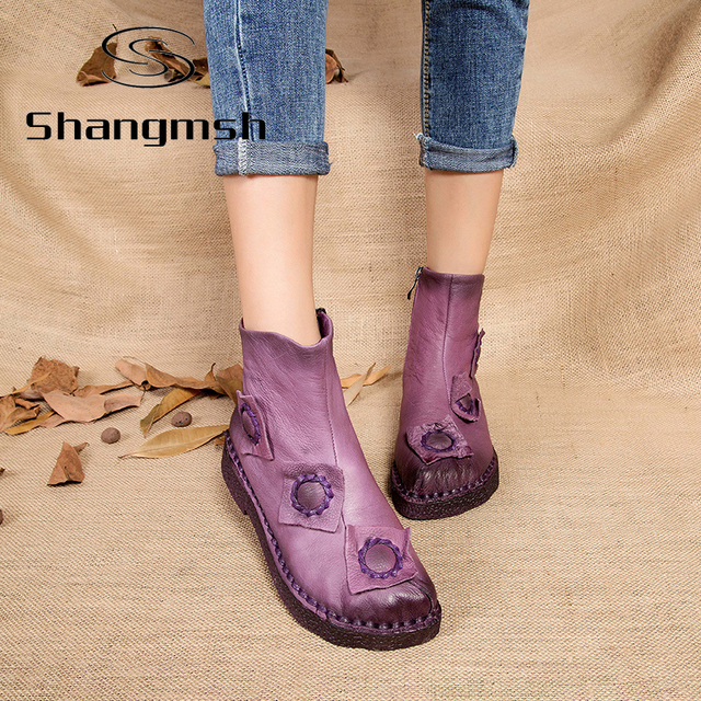 Outono inverno botas de tornozelo para as mulheres handmade Sapatos Estilo Folk Retro Botas de neve Plana com Botas de Couro botines mujer Mulheres
