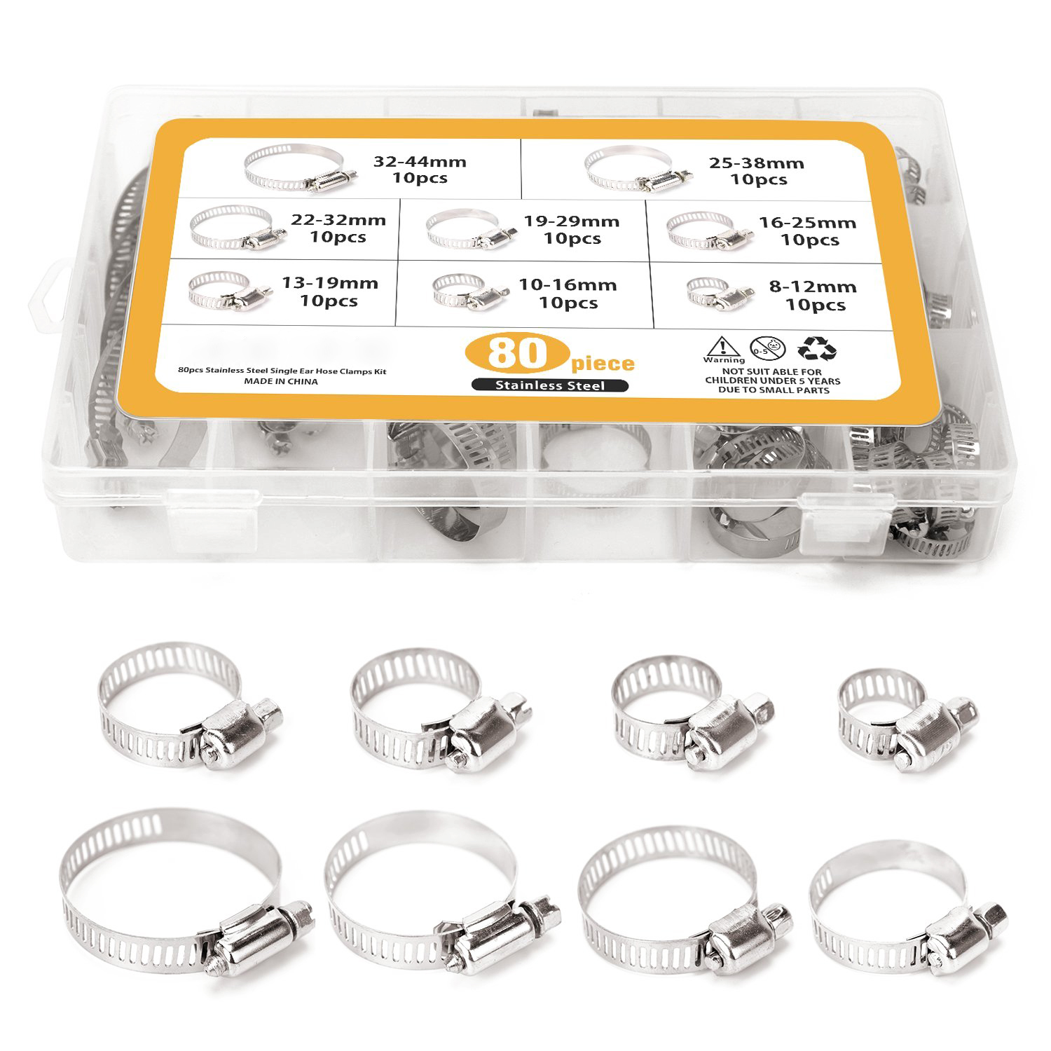 80 Pieces Adjustable 5/16-1-23/32 inch Range Worm Gear Hose Clamps Assortment Kit, 8 Size,One Dual-purpose Screwdriver Include new 34pcs carbon steel worm gear adjustable hose clamps assortment set 16mm 32mm
