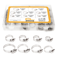 80 Pieces Adjustable 5/16 1 23/32 inch Range Worm Gear Hose Clamps Assortment Kit, 8 Size,One Dual purpose Screwdriver Include
