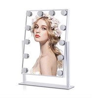 Free shipping UPS/DHL shipping Hollywood led light mirror with 12 led bulbs 360 degree rotation make up led mirror WW/NW/CW