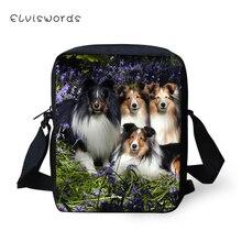 ELVISWORDS Fashion Women Messenger Bag Cute Sheltland Sheepdogs Animal Pattern Womens Shoulder Crossbody Bags Travel Mini Purse