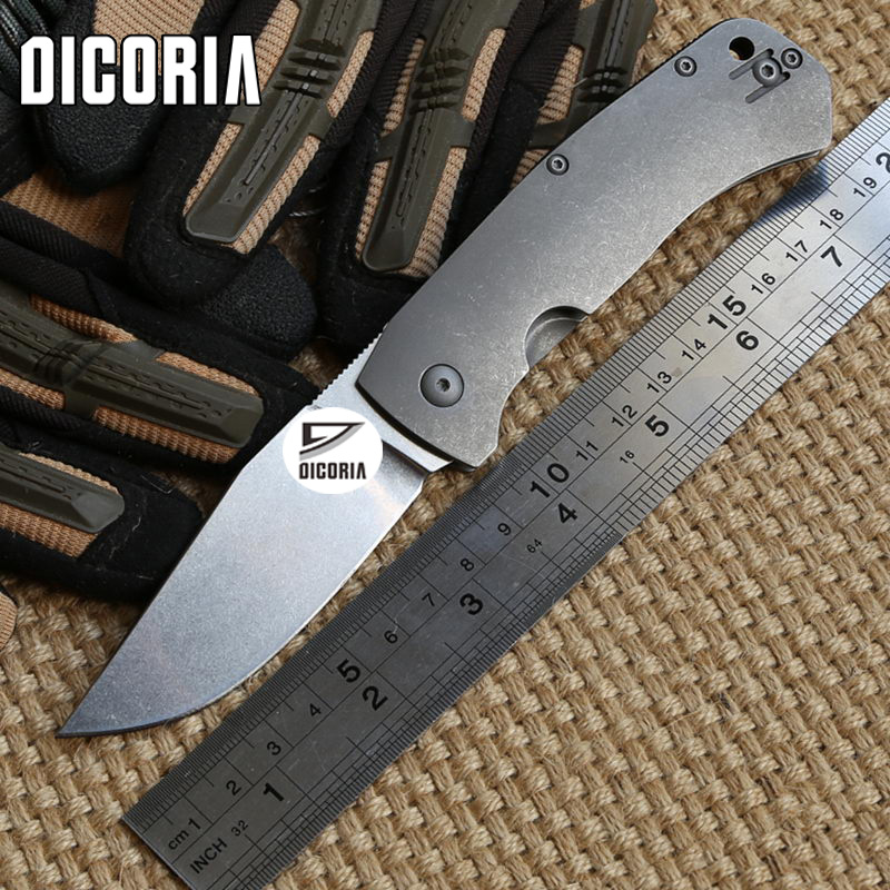 DICORIA C186 folding knife D2 blade Titanium handle Copper washer camping hunt Tactical survival Fishing pocket knives EDC tools bear claw smf folding knife copper gaskets s35vn blade g10 titanium handle outdoor gear tactical camp hunt knives edc tools