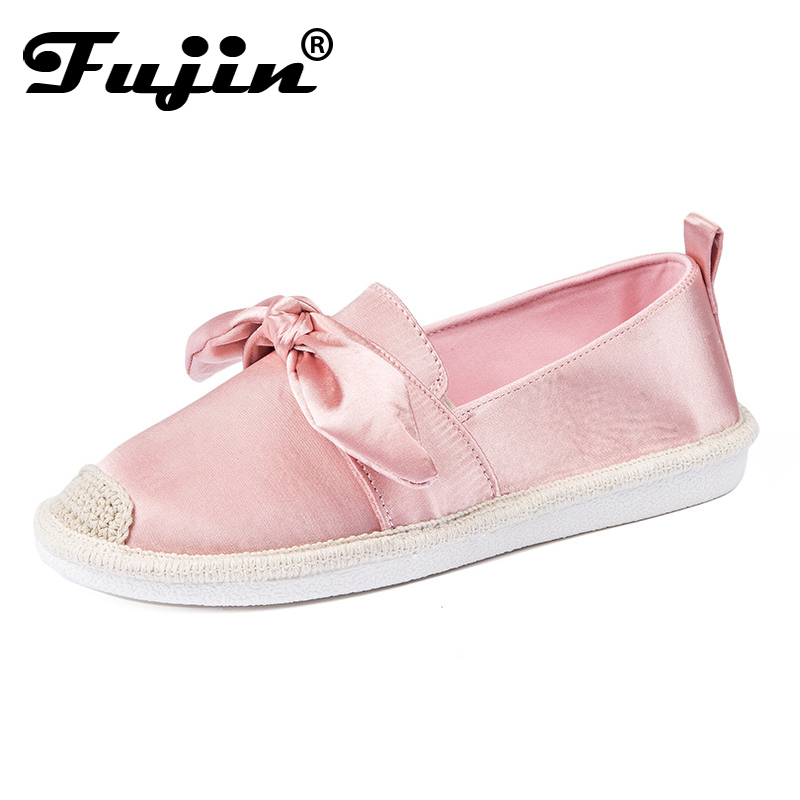 Fujin 2018 women loafers shoes slip on shoes Bowknot Comfortable Casual Shoes Fashion Lady Flats High Quality Shoes 2017 shoes women med heels tassel slip on women pumps solid round toe high quality loafers preppy style lady casual shoes 17