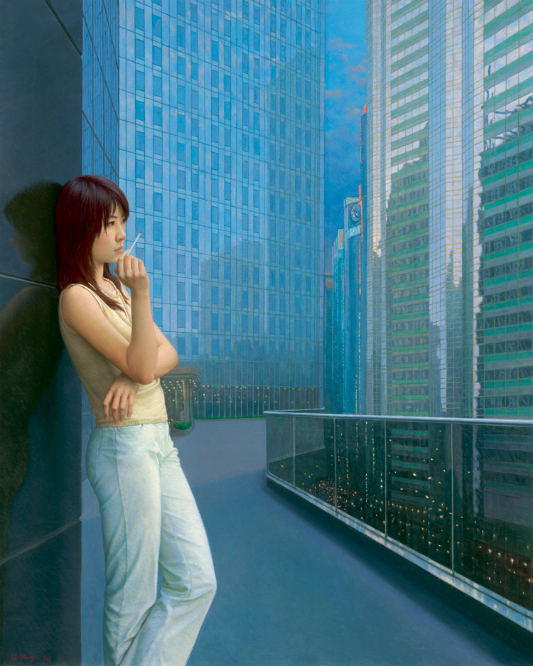 landscape seascape scenery painting Chinese painting Chinese contemporary artist masterpiece poster girl and skyscraper