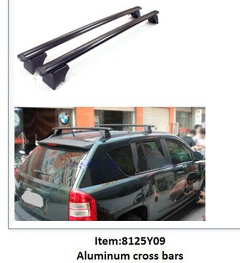 For Jeep Compass 2007 2008 2009 2010 Aluminium Alloy Roof Rack Side Rails Bars Outdoor Travel Luggage Cover Car Styling 2Pcs partol car roof top cross bars roof rack cross bars rail carrier 150lbs aircraft aluminum for mazda cx 7 2007 2008 2009 2010 12