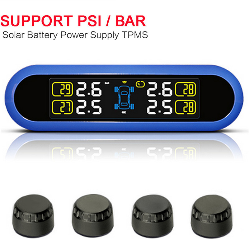 2017 Solar Power TPMS LCD Display Car Wireless Tire Tyre Pressure Monitoring System 4 external/internal Sensors For 4 wheel Cars universal car auto tpms tire tyre pressure monitoring system led display with 4 external sensors