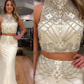 Blanco Trompeta 2 Unidades Prom Dresses 2017 Sexy Abalorios de Cristal Satinado Vestido De Formatura Vestido de Noche Formal Para Las Mujeres