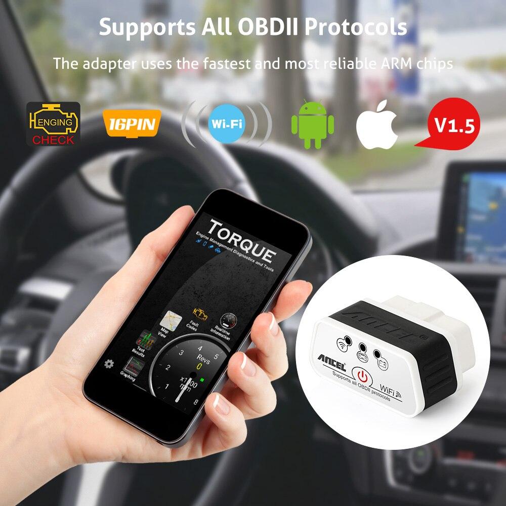 Prix pour Elm327 wifi scanner ancel icar elm 327 v1.5 obd2 pour ios android pc iphone ipad voiture lecteur de code outil d'analyse