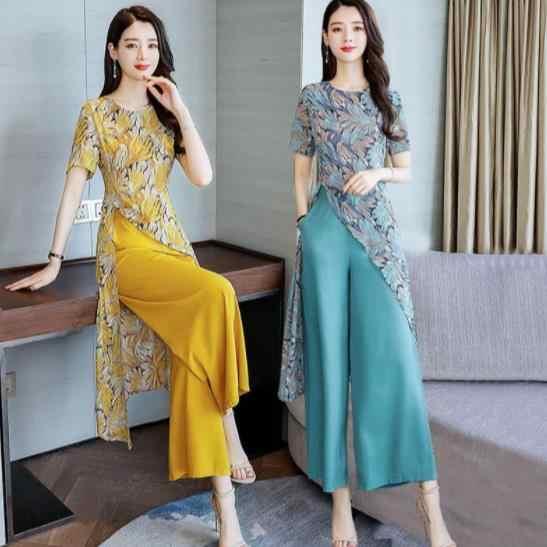 2020 여름시 폰 인쇄 두 조각 세트 여성 짧은 소매 긴 블라우스와 넓은 다리 바지 우아한 패션 여성 세트 ae498