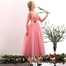 Elegante Cocktailkleid Rosa Tüll Und Spitze Perlen Pailletten Schärpen Vestidos De Festa V-ausschnitt Hinten Tee Länge Partei-kleid D27