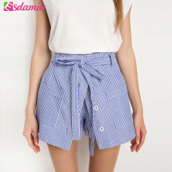 2017 summer casual shorts women blue striped high waist shorts button culotte cotton skirt shorts plus.jpg 250x250