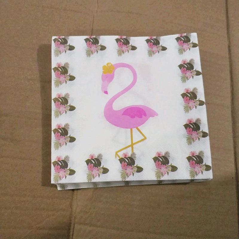 20 Stks Vrouwen Bruiloft Decoratie Handdoeken Kid Gunsten Flamingos En Bloem Thema Papier Servetten Verjaardag Gedrukt Weefsels 33*33 Cm Eenvoudig En Eenvoudig Te Hanteren