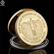Gold Plated Coin Brazil Christ The Redeemer New Seven Wonders of The World Coins the wonderful wonder of wonders