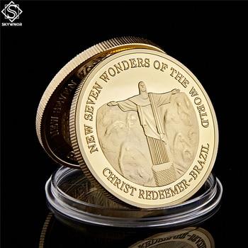 Moneda chapada en oro Brasil Cristo Redentor nuevas siete maravillas del mundo monedas