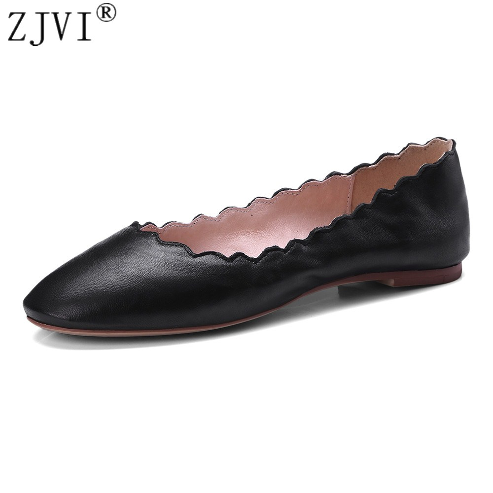 ZJVI woman fashion round toe flats 2018 women genuine leather summer autumn ladies womens black red beige casual flat with shoes women flats genuine leather shoes womens summer shoes pointed toe flats ladies cross elastic band footwear for pregnant women