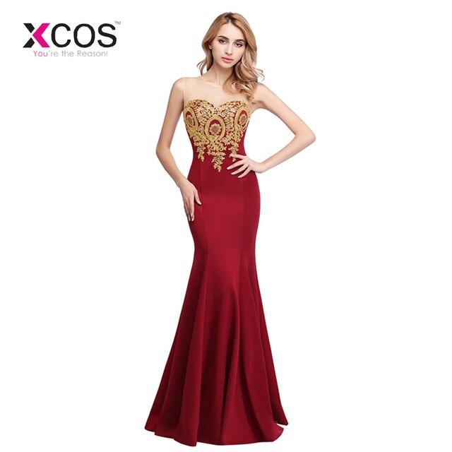 95540d66cc Vestido de velada Longue Sexy vino rojo de encaje sirena Vestido de noche  largo barato oro apliques vestidos de noche Vestido de fiesta