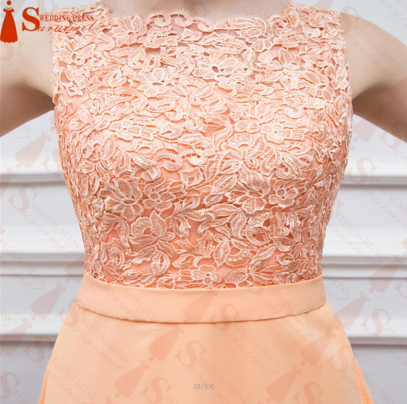 c5b433daad3 High quality nude back chiffon lace long peach color for sale cheap  bridesmaid dress brides maid dress BD111-in Bridesmaid Dresses from  Weddings   Events on ...