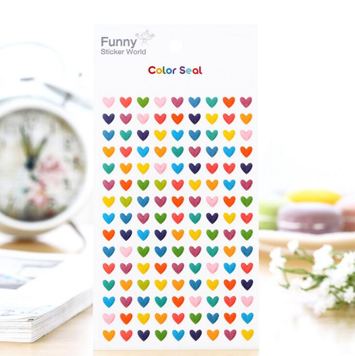 Sweet Colorful Hearts Seal Decorative Stickers Adhesive Stickers DIY Decoration Diary Stickers наклейка sweet hearts поцелуй 53434