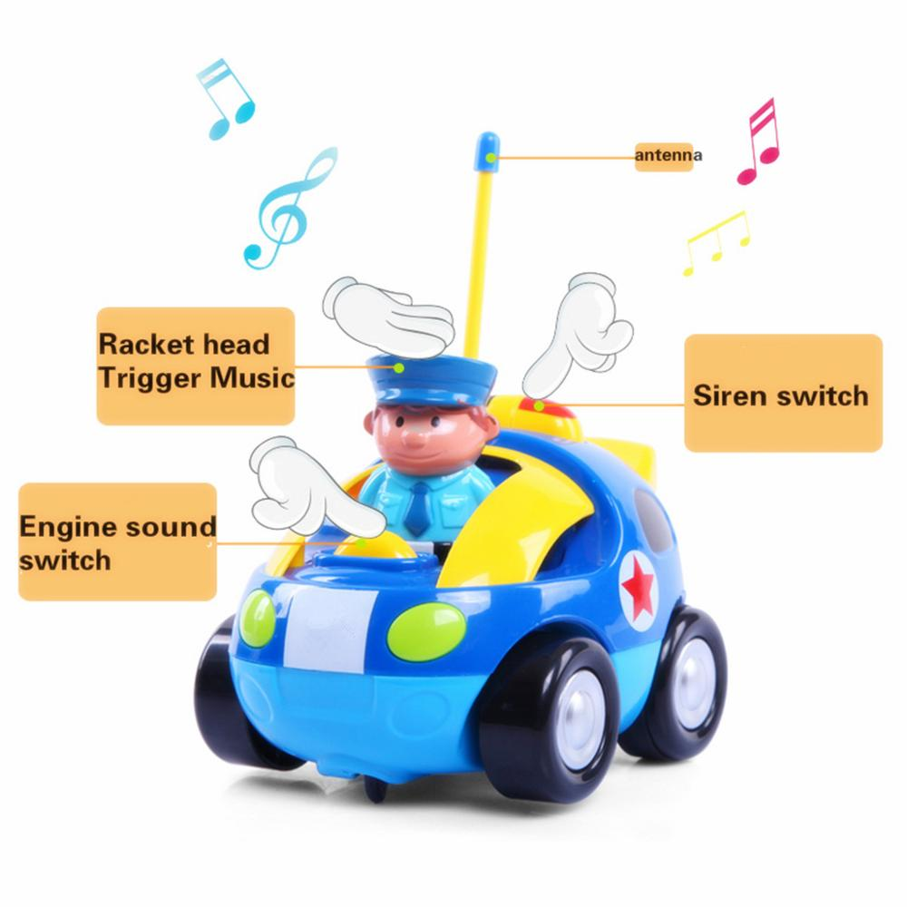 1xcartoon rc police car radio control toy with sounds music headlights for toddlers and kids