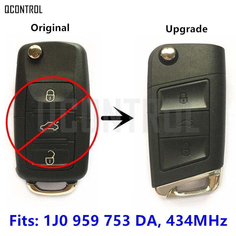 QCONTROL 1J0959753DA 434MHz Upgrade Remote Key for SKODA Octavia/Superb/Yeti Auto Control 1J0 959 753 DA 753DA