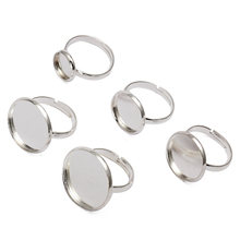10pcs Cabochon 12mm 18mm 20mm Silver Ring Blank Jewelry Bezel Setting Tray Base Cameo Cabochons Diy Fittings WHOLESALE Supplies