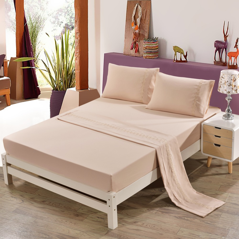 Double Bed 100 Us 66 1 100 Polyester Embroidered Bed Linen Set 4 Pic Double Bed Sheet Sheets On An Elastic Band Linens Bedding Set King Size In Bedding Sets From