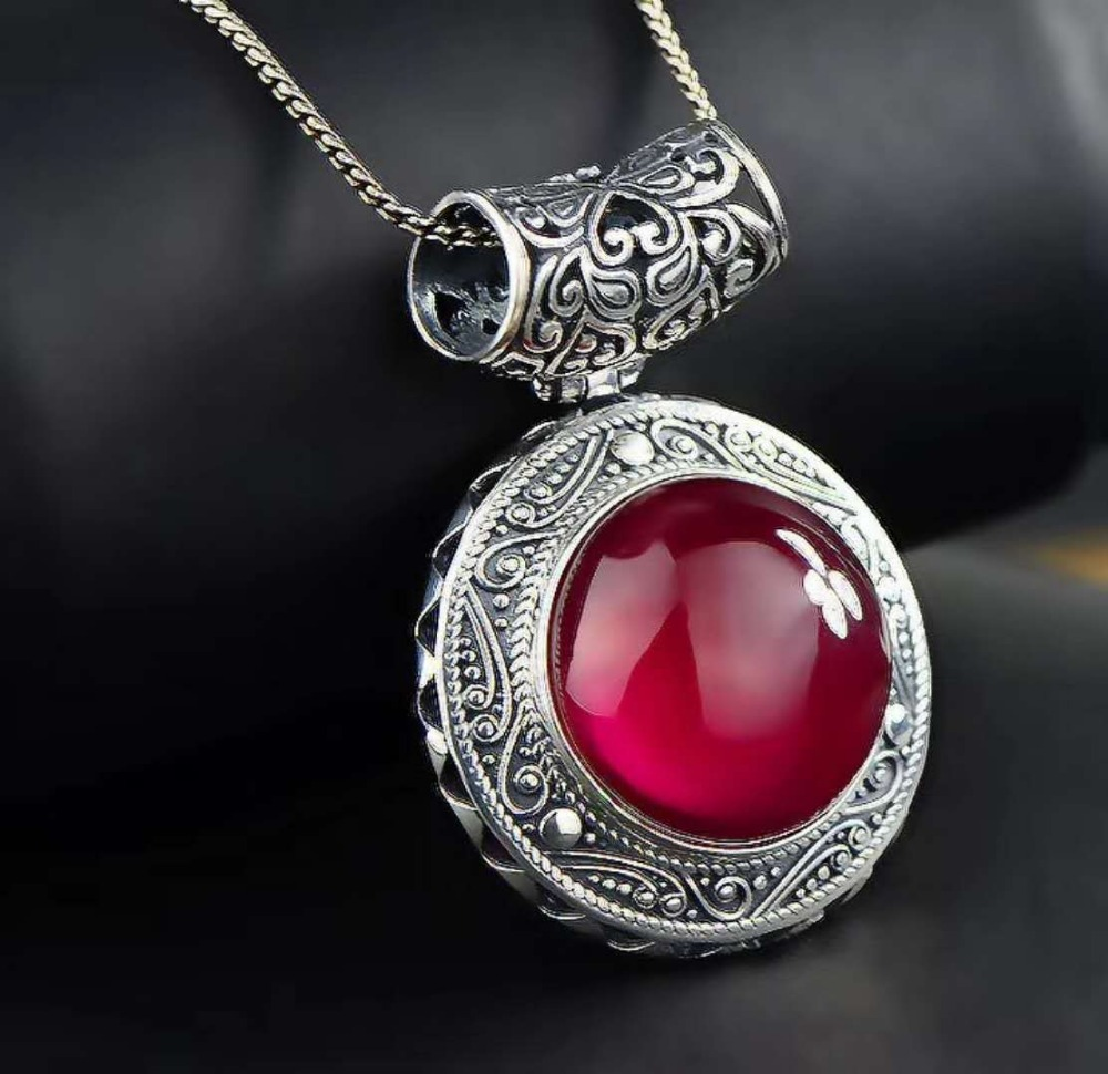 Retro Royal Garnet Gemstone 100% 925 Sterling Silver Natural Garnet Pendant Necklace Female Fine Jewelry 925 sterling silver retro garnet vajry pestle necklace pendant men thai silver fine jewelry gift ch021420