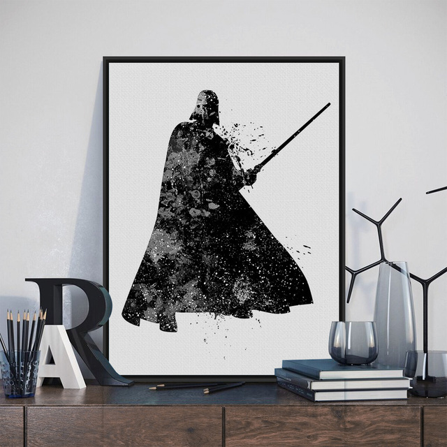 Original Aquarell Schwarz Weiß Star Wars Darth Vader Pop Film ...