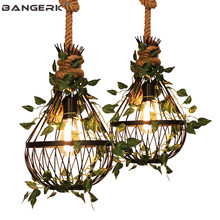 Vintage Industrial Hemp Rope Pendant Lamp LED Edison Retro Iron Hanging Light Loft Decor Artificial Plant Dining Room Lights цена