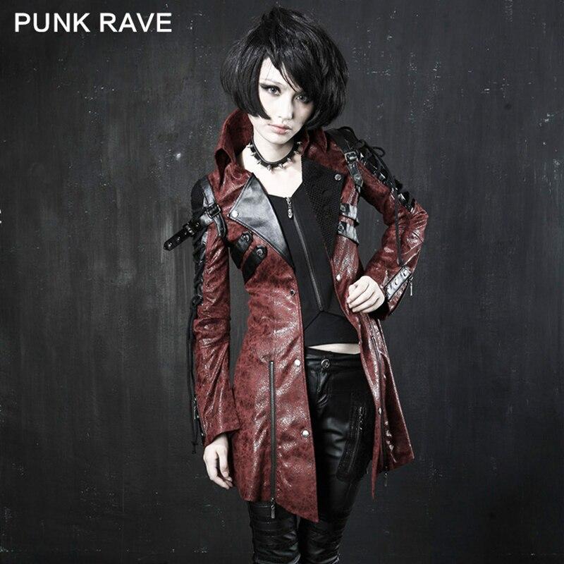 PUNK RAVE Gothique Style Femmes Vampire Rouge Punk Clouté Lourd Pu Cuir Moto Veste En Cuir De Mode Marque Qualité Long Manteau