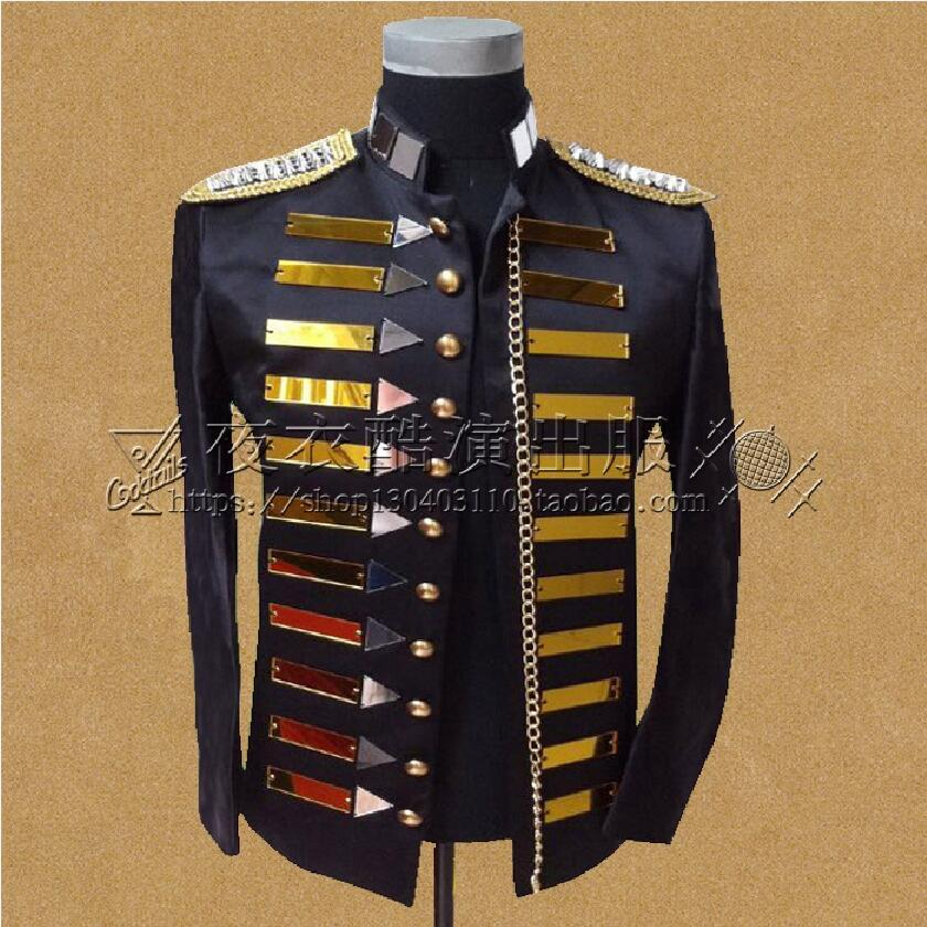 Sequins Suit Men Blazers Wedding Stage Costumes For Male Singers Black Stand Collar Military Clothing Suits Jacket Prom Party