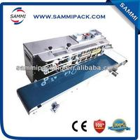 CE approved horizontal continuous bag band sealing machine with black color date print