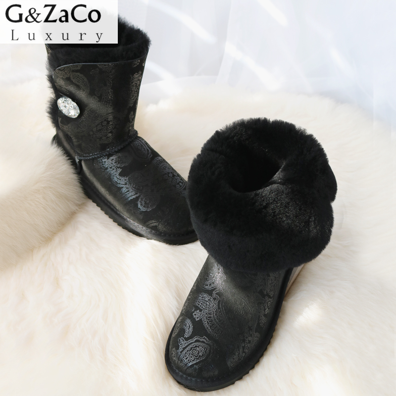 G&Zaco Luxury Winter Sheepskin Snow Boots Natural Wool Middle Calf Boots Warm Shoes Flat Girls Genuine Leather Sheep Fur Shoes luxury women classic snow boots waterproof sheepskin wool one natural wool inside fur boots crystal buckle warm winter shoes