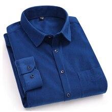 Королевские синие вельветовые мужские рубашки осень дизайн с длинным рукавом удобный тонкий крой твердые мужские повседневные рубашки