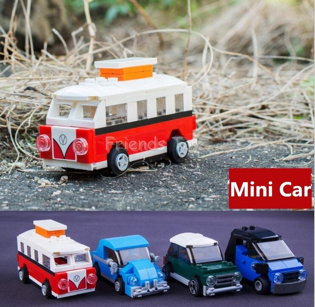 4pcs T1 Mini Cooper Smart Volkswagen Beetle Building Blocks Toys Compatible With Lego Decool-in ...