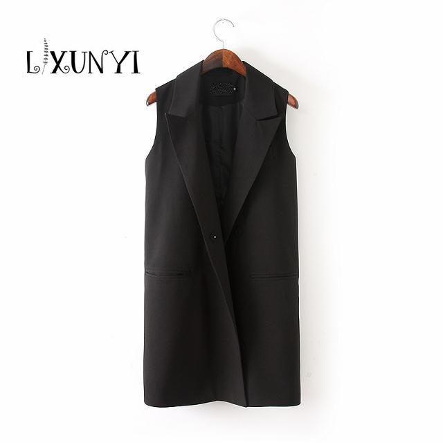 2018 Formal Long Womens Vests Sleeveless Outerwear Tops Plus Size 3XL Clothing Female Office Lady Black Jackets colete feminino