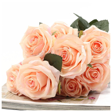 UESH-1 bouquet 10 Head Artificial Silk cloth Rose Wedding Bridal Flower Bouquet Home Party Decor Light peach