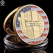 The Normandie War Antique Gold Plated America Challenge Coin With Round Acrylic Box For Collection